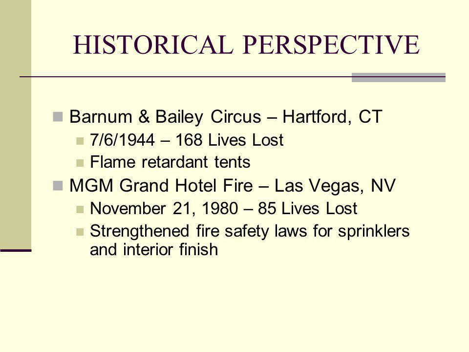 HISTORICAL PERSPECTIVE Barnum & Bailey Circus – Hartford, CT 7/6/1944 – 168 Lives Lost Flame retardant tents MGM Grand Hotel Fire – Las Vegas, NV Nove