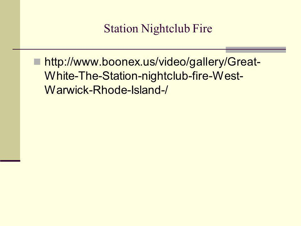 Station Nightclub Fire http://www.boonex.us/video/gallery/Great- White-The-Station-nightclub-fire-West- Warwick-Rhode-Island-/