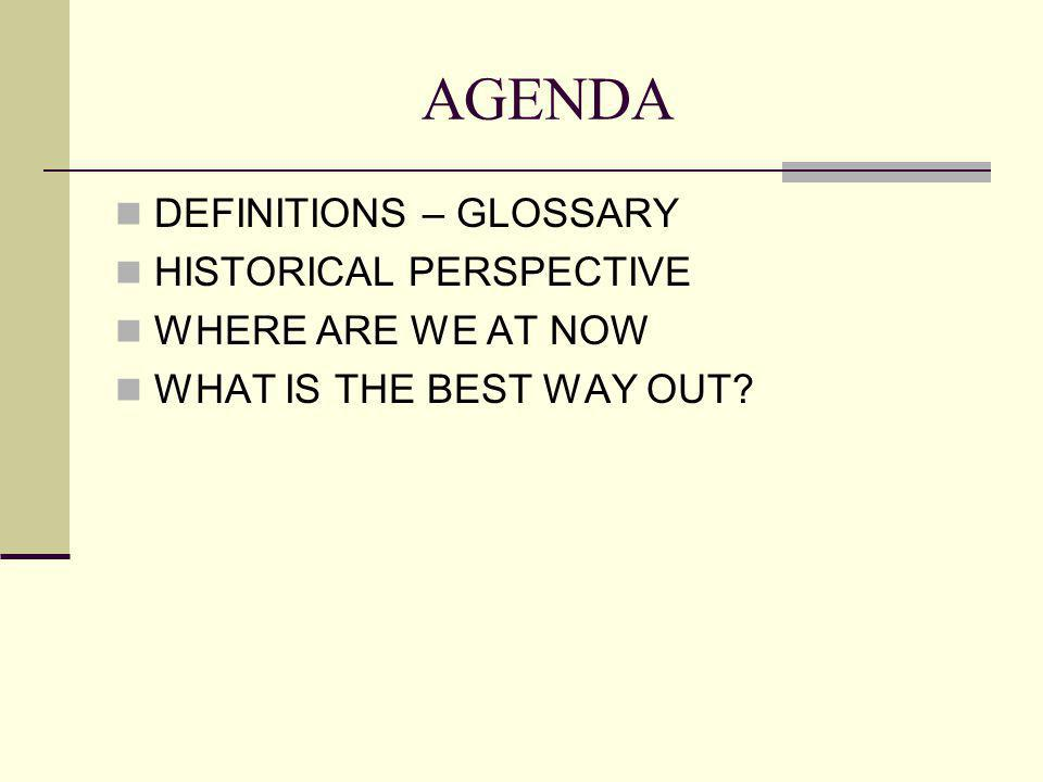 AGENDA DEFINITIONS – GLOSSARY HISTORICAL PERSPECTIVE WHERE ARE WE AT NOW WHAT IS THE BEST WAY OUT?
