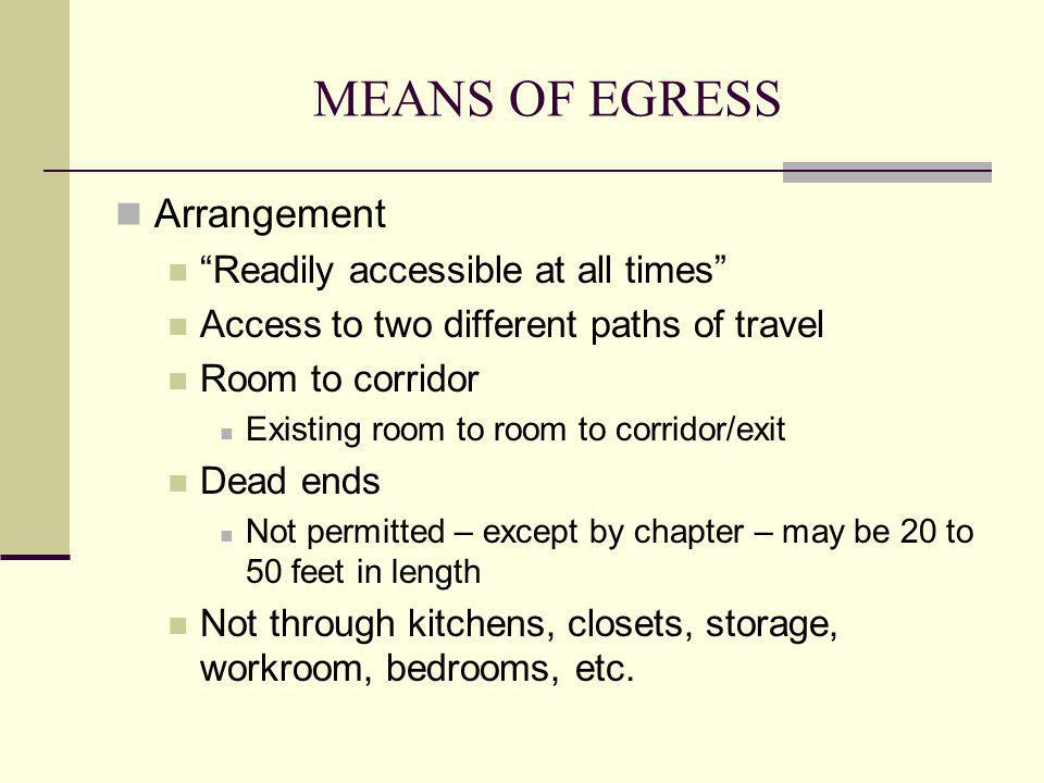 MEANS OF EGRESS Arrangement Readily accessible at all times Access to two different paths of travel Room to corridor Existing room to room to corridor