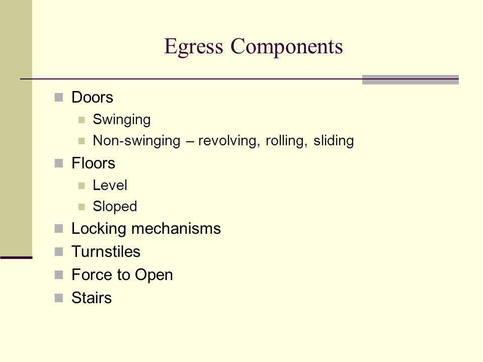 Egress Components Doors Swinging Non-swinging – revolving, rolling, sliding Floors Level Sloped Locking mechanisms Turnstiles Force to Open Stairs