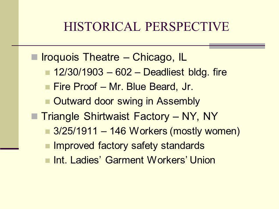 HISTORICAL PERSPECTIVE Iroquois Theatre – Chicago, IL 12/30/1903 – 602 – Deadliest bldg. fire Fire Proof – Mr. Blue Beard, Jr. Outward door swing in A