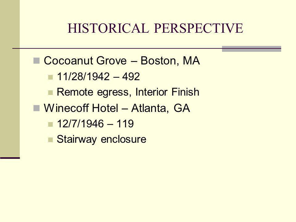 HISTORICAL PERSPECTIVE Cocoanut Grove – Boston, MA 11/28/1942 – 492 Remote egress, Interior Finish Winecoff Hotel – Atlanta, GA 12/7/1946 – 119 Stairw