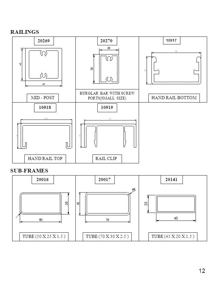 12 RAILINGS 2026920270 1091810919 MID - POST BURGLAR BAR WITH SCREW PORTS(SMALL SIZE) HAND RAIL BOTTOM HAND RAIL TOPRAIL CLIP 10917 SUB-FRAMES 200162001720141 TUBE (50 X 25 X 1.5 )TUBE (70 X 30 X 2.5 )TUBE (45 X 20 X 1.5 )
