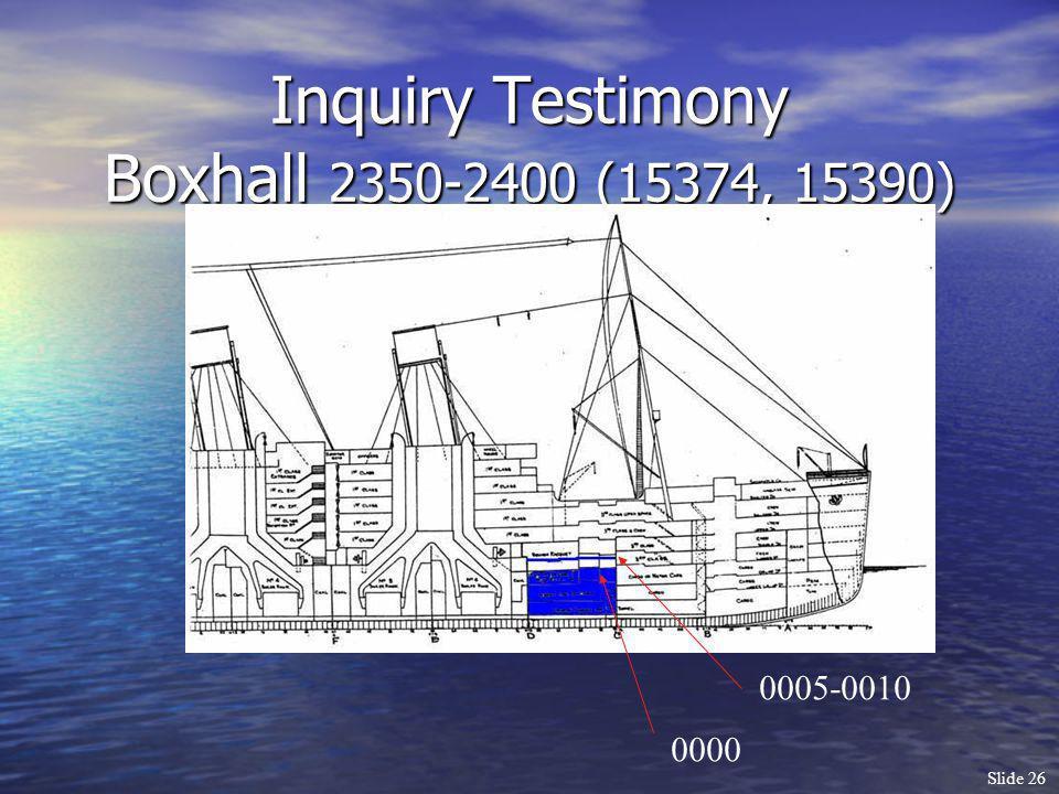 Slide 26 Inquiry Testimony Boxhall 2350-2400 (15374, 15390) 0000 0005-0010
