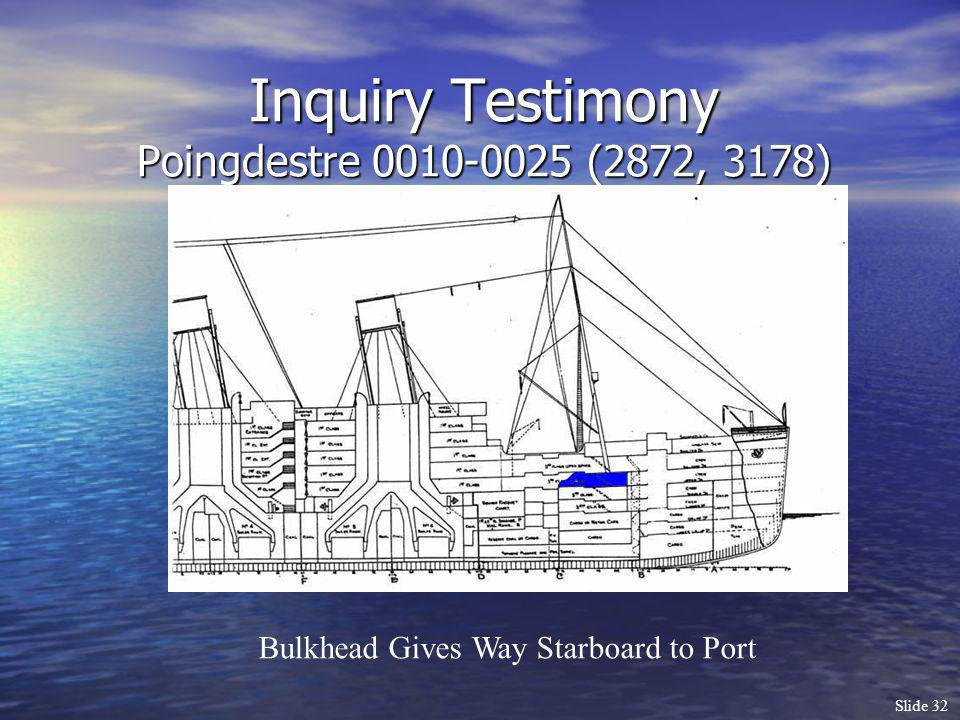 Slide 32 Inquiry Testimony Poingdestre 0010-0025 (2872, 3178) Bulkhead Gives Way Starboard to Port