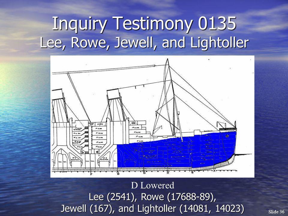 Slide 36 Inquiry Testimony 0135 Lee, Rowe, Jewell, and Lightoller D Lowered Lee (2541), Rowe (17688-89), Jewell (167), and Lightoller (14081, 14023)