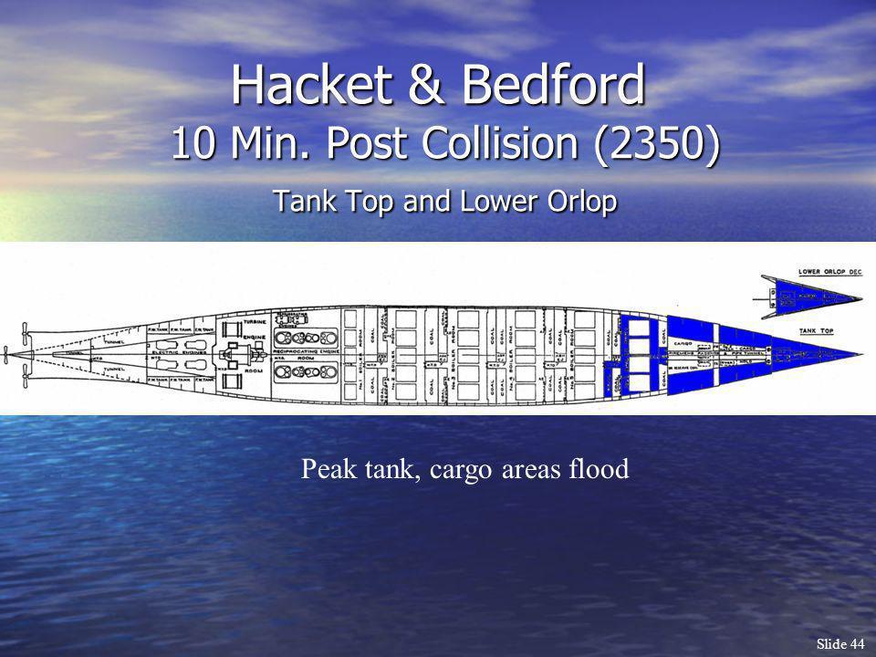 Slide 44 Hacket & Bedford 10 Min. Post Collision (2350) Tank Top and Lower Orlop Peak tank, cargo areas flood