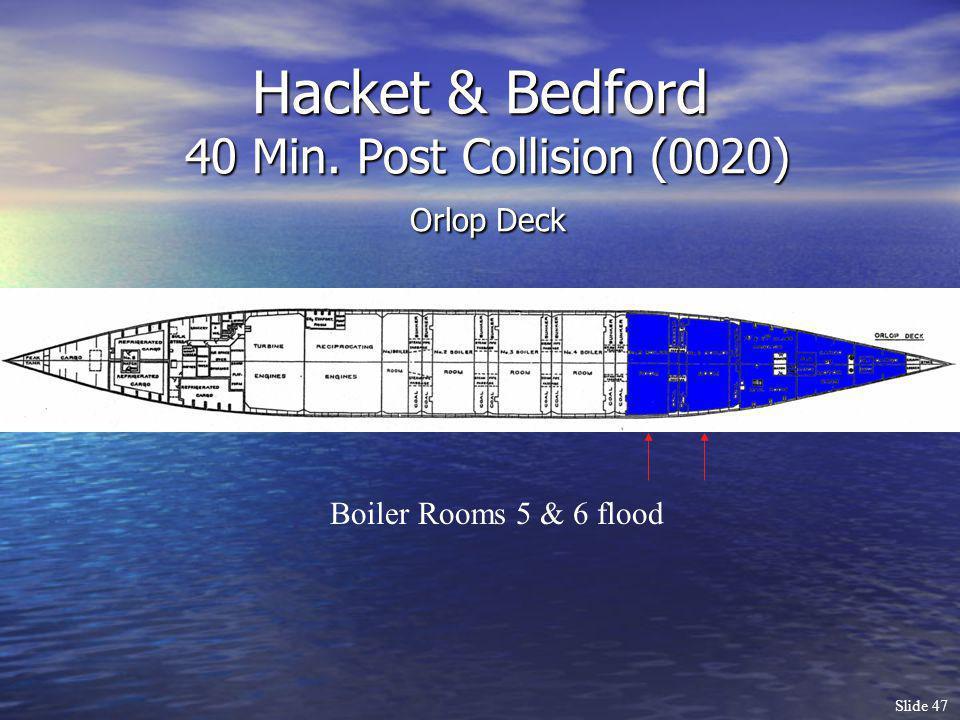 Slide 47 Hacket & Bedford 40 Min. Post Collision (0020) Orlop Deck Boiler Rooms 5 & 6 flood