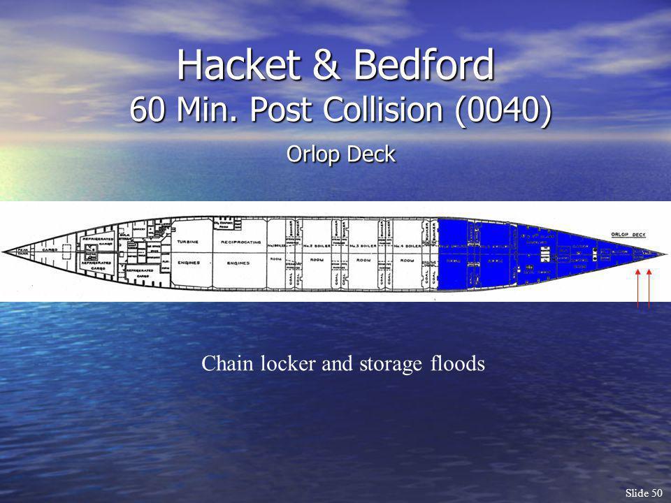 Slide 50 Hacket & Bedford 60 Min. Post Collision (0040) Orlop Deck Chain locker and storage floods