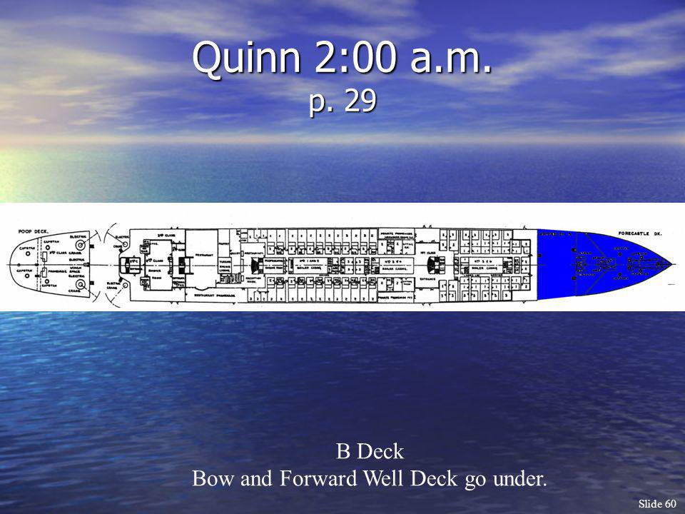 Slide 60 Quinn 2:00 a.m. p. 29 B Deck Bow and Forward Well Deck go under.
