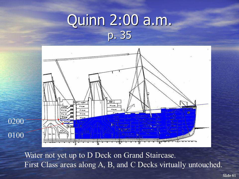 Slide 61 Quinn 2:00 a.m. p. 35 Water not yet up to D Deck on Grand Staircase. First Class areas along A, B, and C Decks virtually untouched. 0100 0200