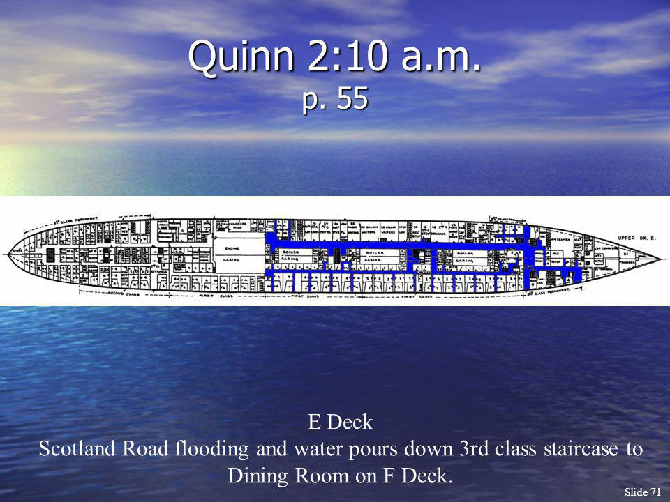 Slide 71 Quinn 2:10 a.m. p. 55 E Deck Scotland Road flooding and water pours down 3rd class staircase to Dining Room on F Deck.