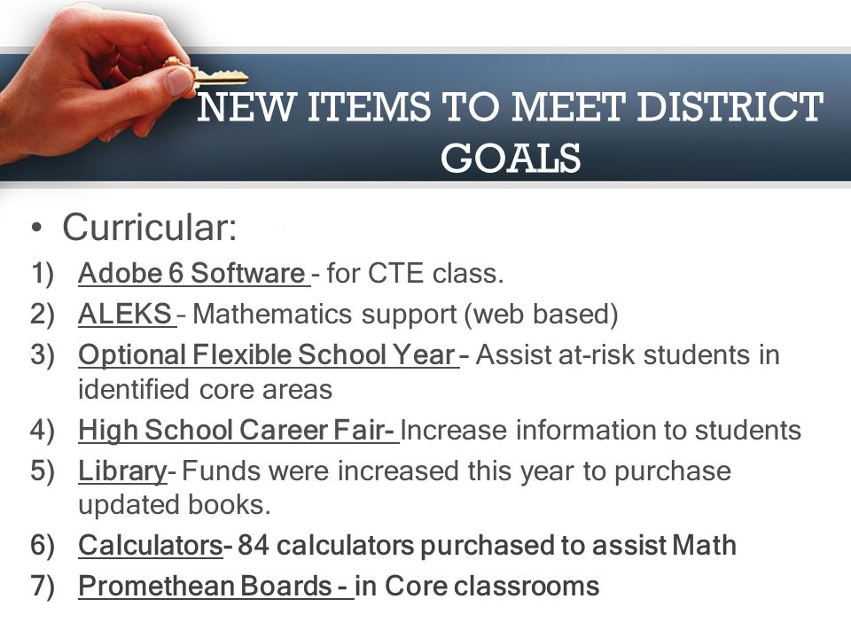 NEW ITEMS TO MEET DISTRICT GOALS Technology: 1)District Web Site- Updated to increase information to the community. 2)Lightspeed Server- To improve re