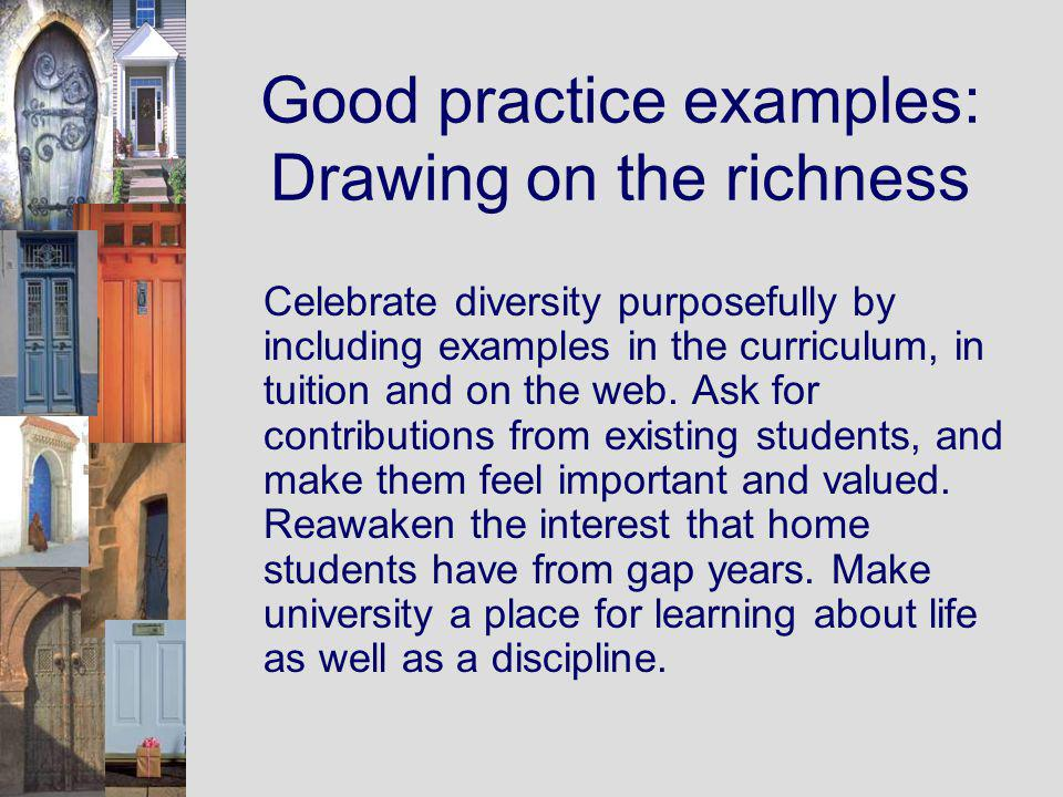 Good practice examples: Drawing on the richness Celebrate diversity purposefully by including examples in the curriculum, in tuition and on the web.