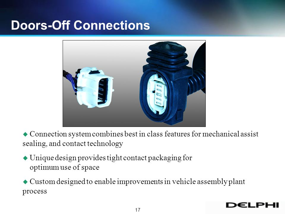17 u Connection system combines best in class features for mechanical assist sealing, and contact technology u Unique design provides tight contact packaging for optimum use of space u Custom designed to enable improvements in vehicle assembly plant process Doors-Off Connections