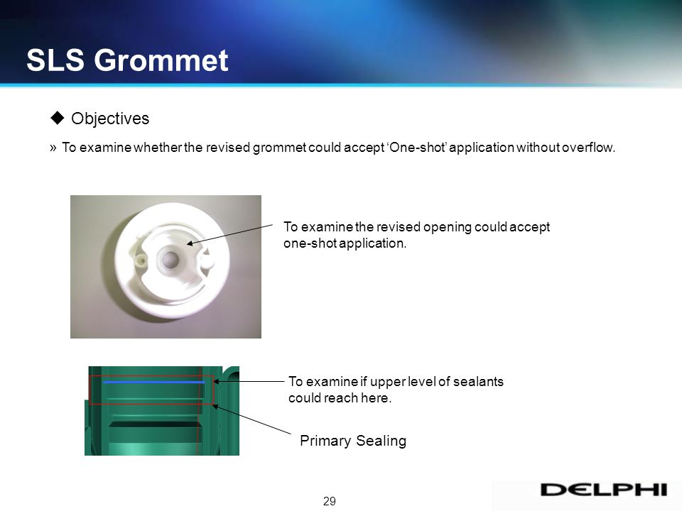 29 Objectives » To examine whether the revised grommet could accept One-shot application without overflow.