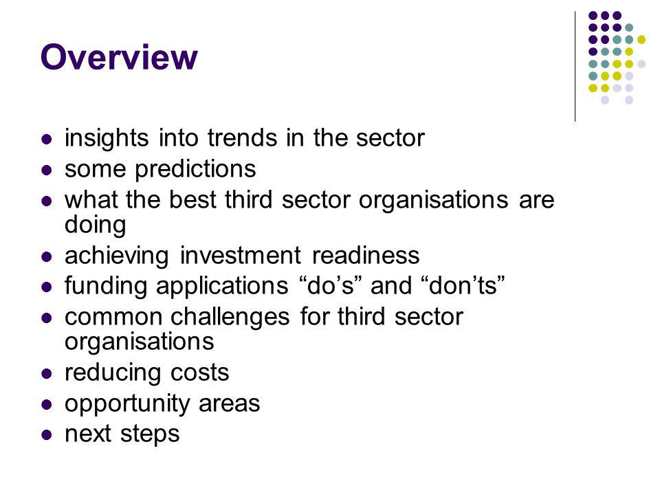 Overview insights into trends in the sector some predictions what the best third sector organisations are doing achieving investment readiness funding applications dos and donts common challenges for third sector organisations reducing costs opportunity areas next steps