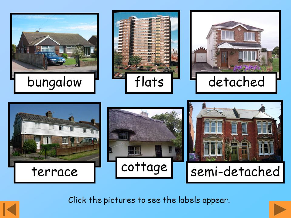 bungalow terrace detached semi-detached flats cottage Click the pictures to see the labels appear.