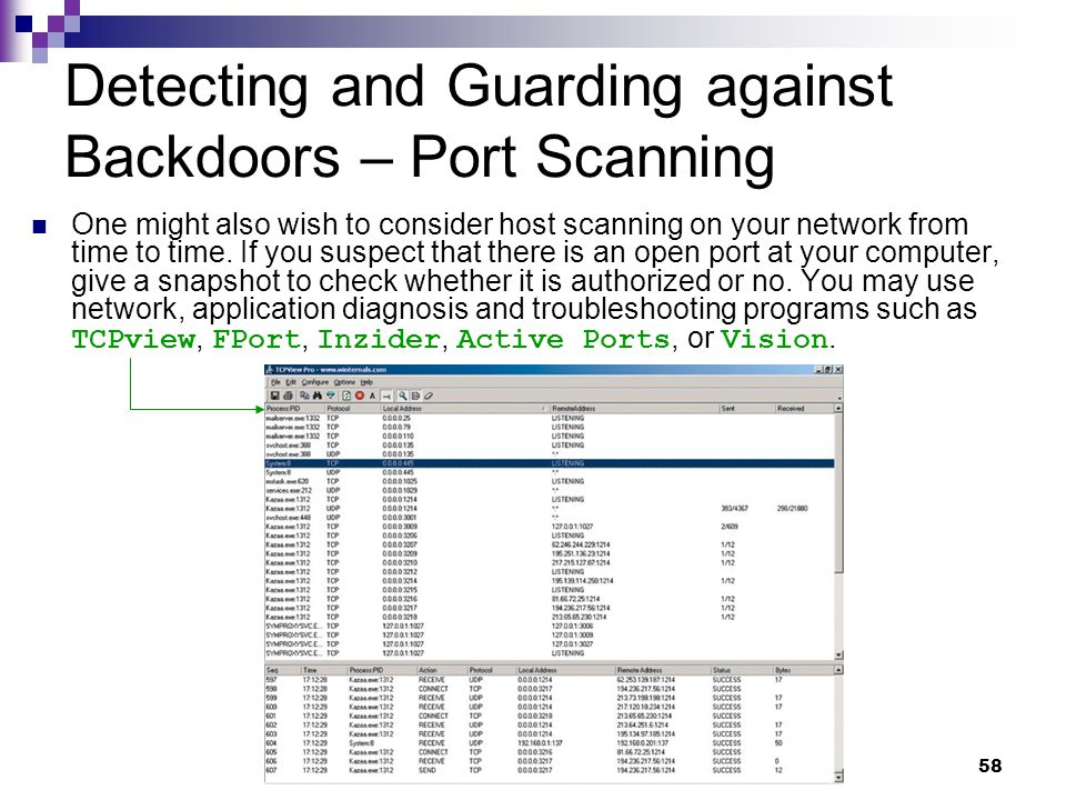 58 Detecting and Guarding against Backdoors – Port Scanning One might also wish to consider host scanning on your network from time to time. If you su