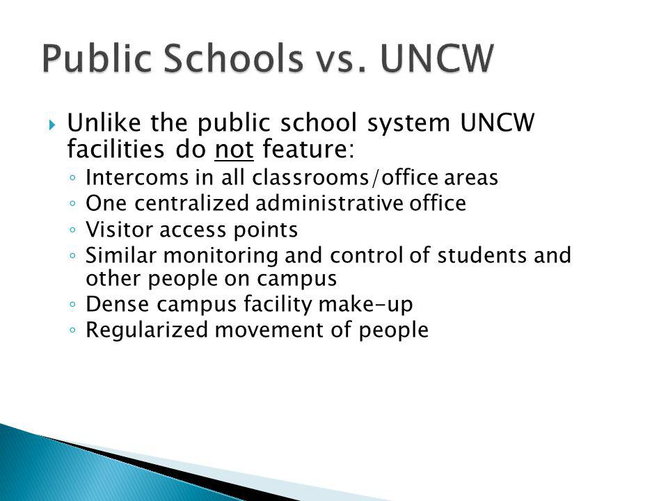Unlike the public school system UNCW facilities do not feature: Intercoms in all classrooms/office areas One centralized administrative office Visitor access points Similar monitoring and control of students and other people on campus Dense campus facility make-up Regularized movement of people