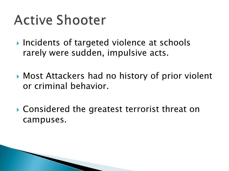 Incidents of targeted violence at schools rarely were sudden, impulsive acts.