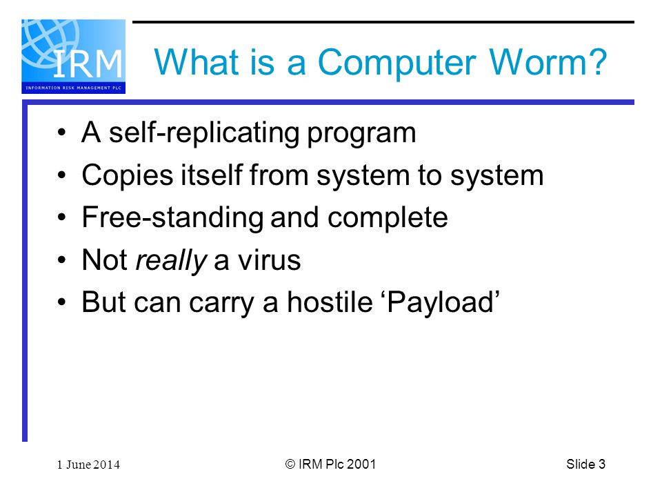 Slide 31 June 2014© IRM Plc 2001 What is a Computer Worm.