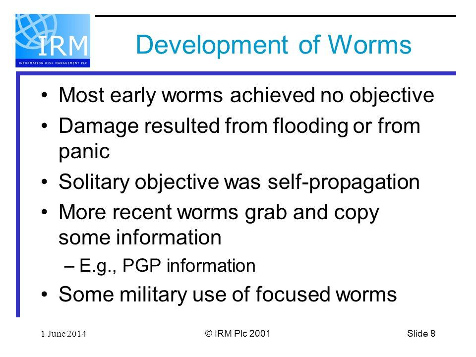 Slide 91 June 2014© IRM Plc 2001 How do Modern Worms Work.