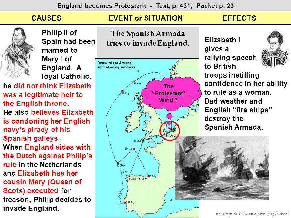 CAUSES EVENT or SITUATION EFFECTS England becomes Protestant - Text, p. 431; Packet p. 23 The Spanish Armada tries to invade England. Philip II of Spa
