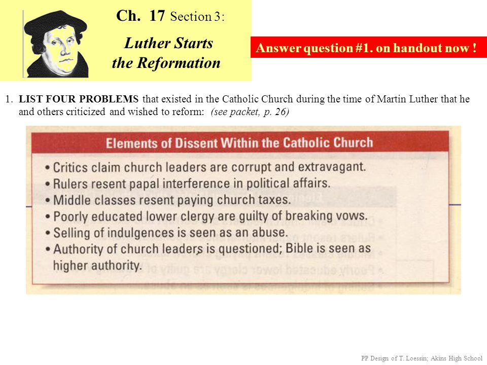 The Legacy of the Reformation - Textbook, p.436; Packet p.