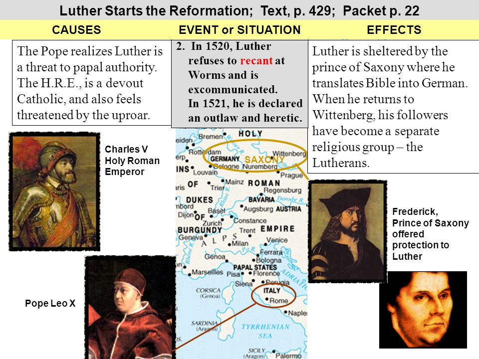 The Spread of Protestant Reformation Groups - Textbook MAP, p.