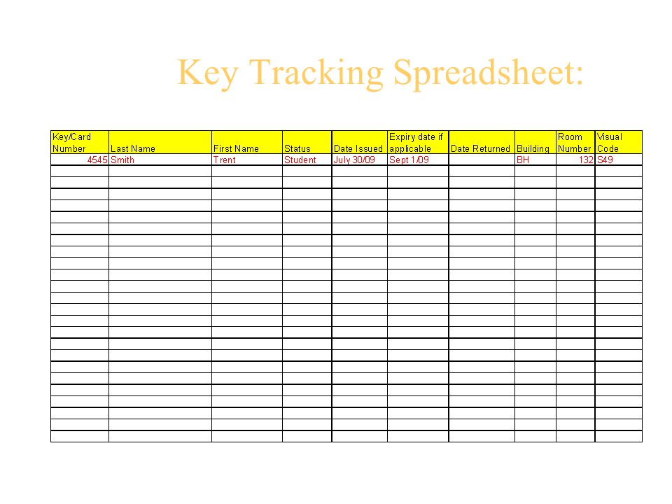 Key Tracking Spreadsheet: