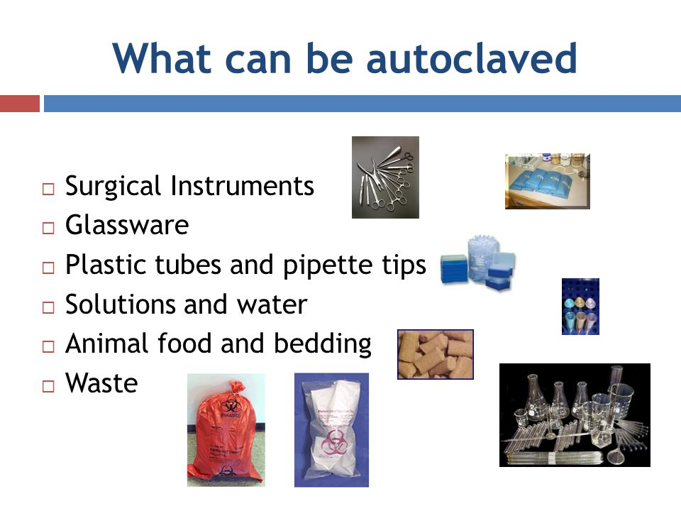What can be autoclaved Surgical Instruments Glassware Plastic tubes and pipette tips Solutions and water Animal food and bedding Waste