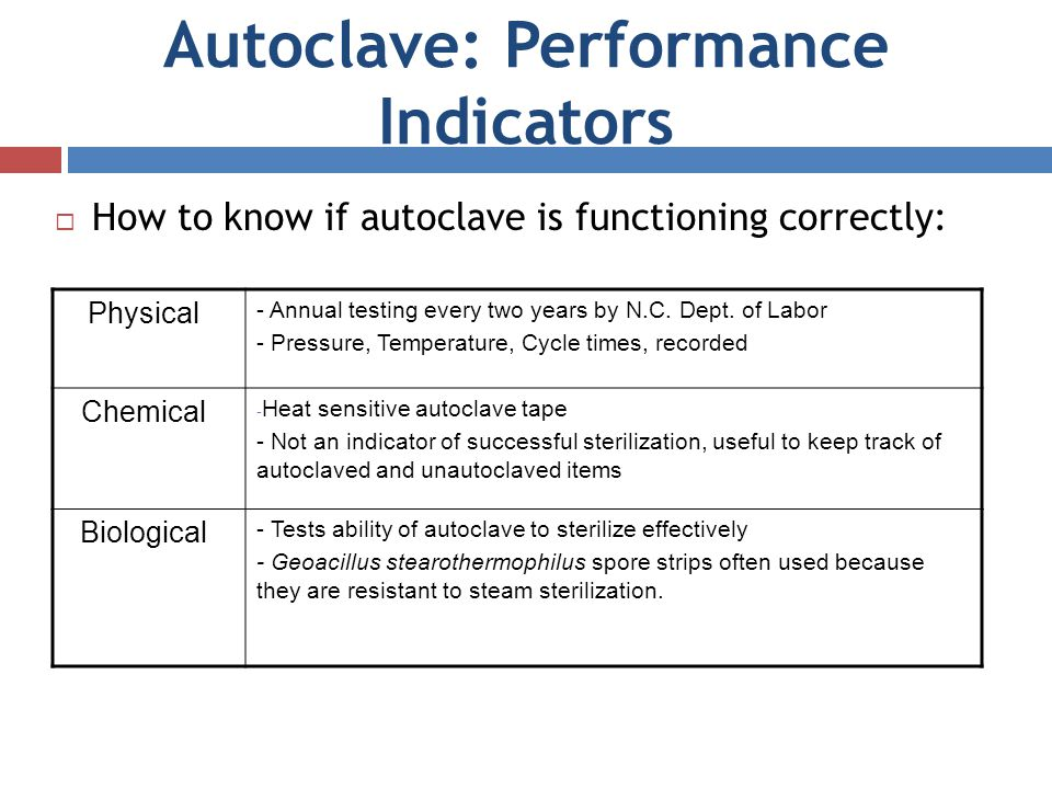 Autoclave: Performance Indicators How to know if autoclave is functioning correctly: Physical - Annual testing every two years by N.C. Dept. of Labor