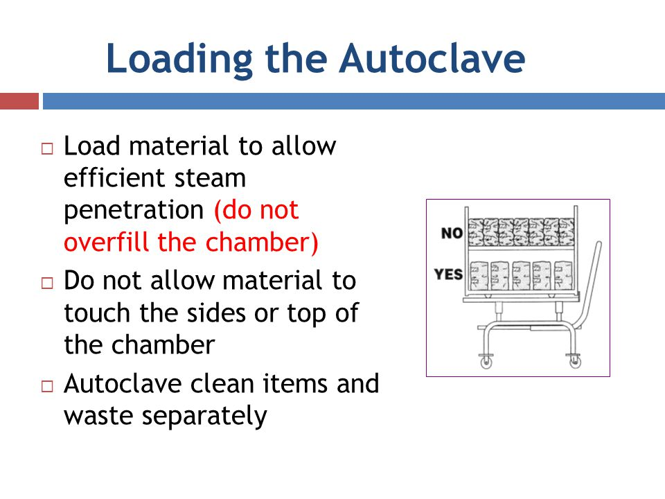 Loading the Autoclave Load material to allow efficient steam penetration (do not overfill the chamber) Do not allow material to touch the sides or top