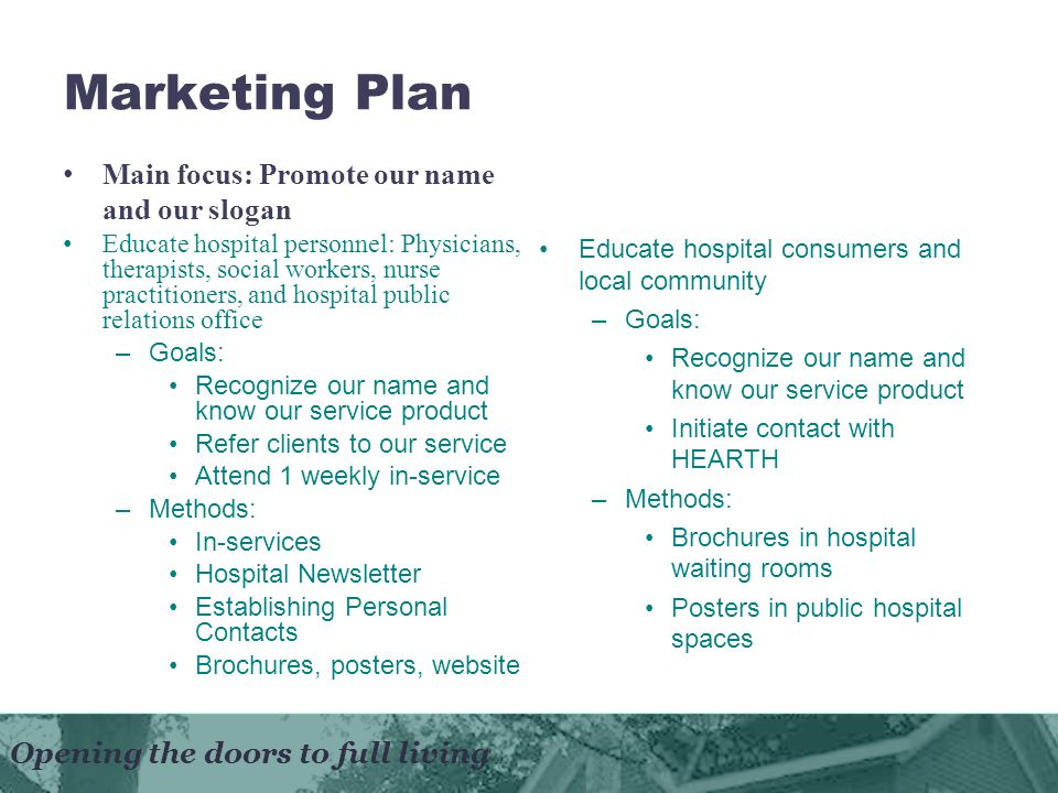 Opening the doors to full living Marketing Plan Educate hospital consumers and local community –Goals: Recognize our name and know our service product Initiate contact with HEARTH –Methods: Brochures in hospital waiting rooms Posters in public hospital spaces Main focus: Promote our name and our slogan Educate hospital personnel: Physicians, therapists, social workers, nurse practitioners, and hospital public relations office –Goals: Recognize our name and know our service product Refer clients to our service Attend 1 weekly in-service –Methods: In-services Hospital Newsletter Establishing Personal Contacts Brochures, posters, website