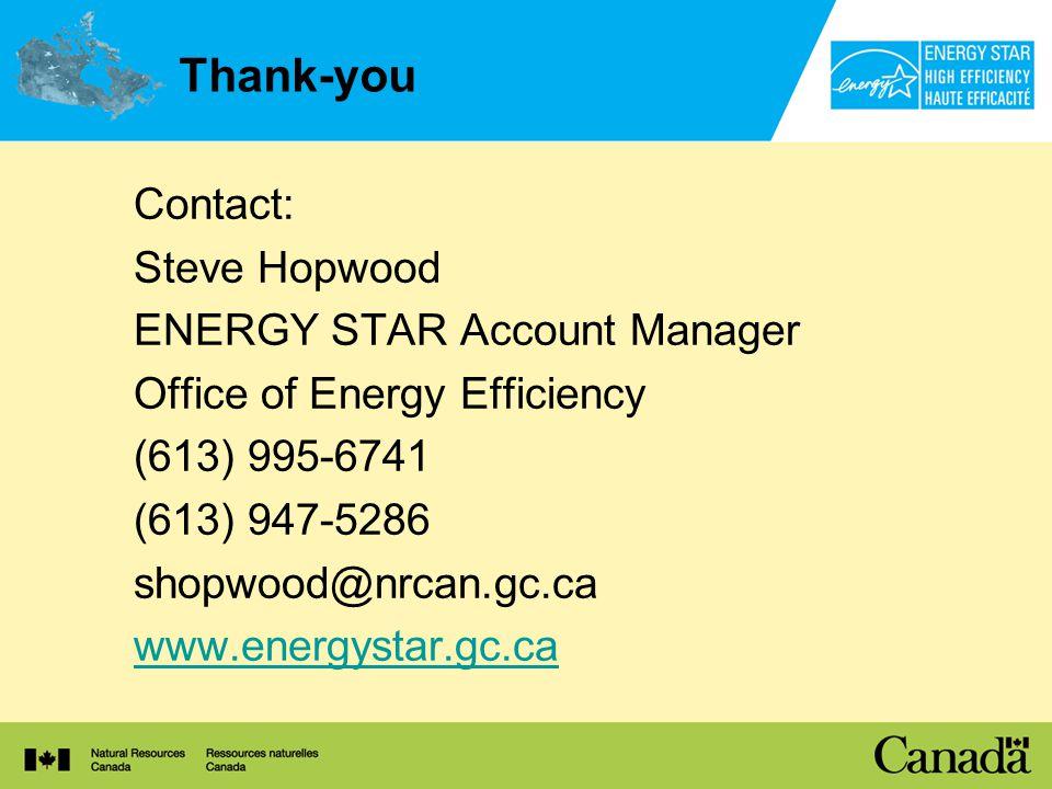 Thank-you Contact: Steve Hopwood ENERGY STAR Account Manager Office of Energy Efficiency (613) 995-6741 (613) 947-5286 shopwood@nrcan.gc.ca www.energystar.gc.ca