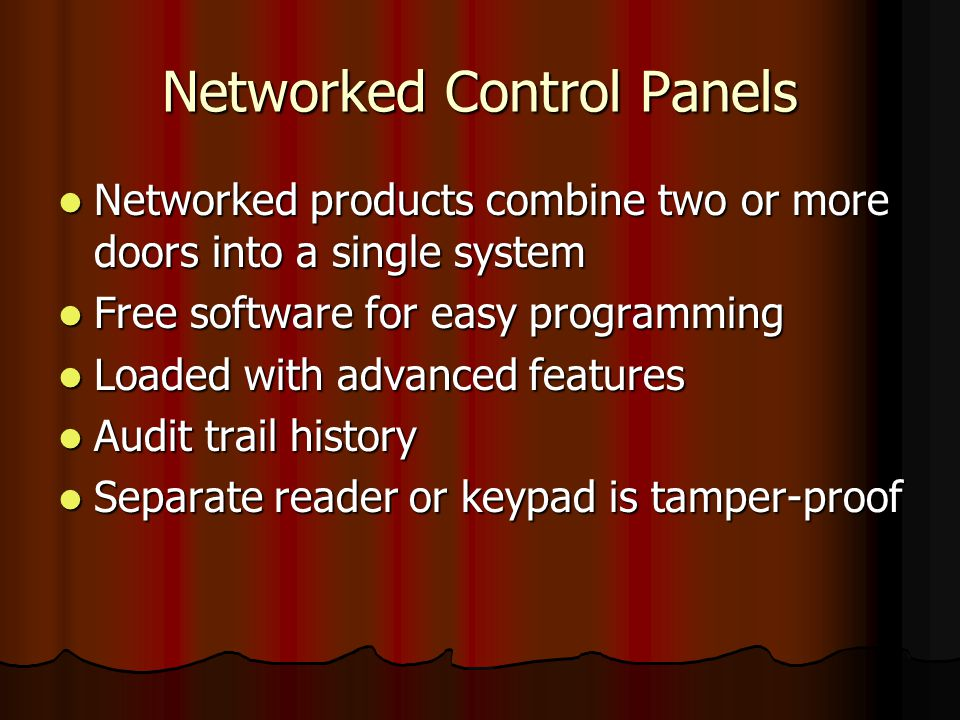 Networked Control Panels Networked products combine two or more doors into a single system Networked products combine two or more doors into a single