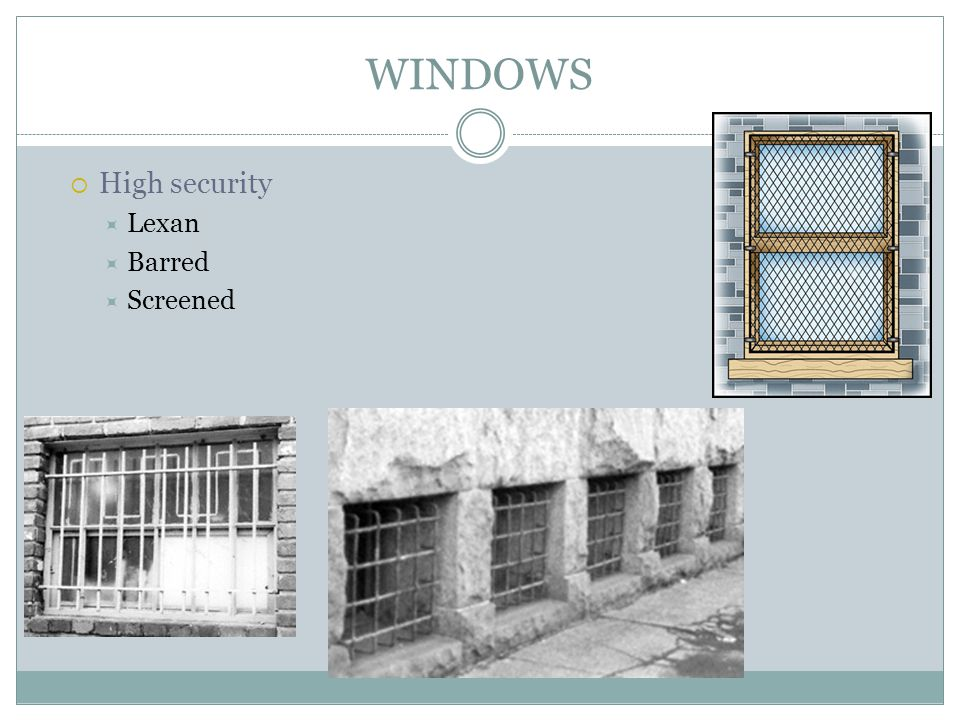 WINDOWS High security Lexan Barred Screened