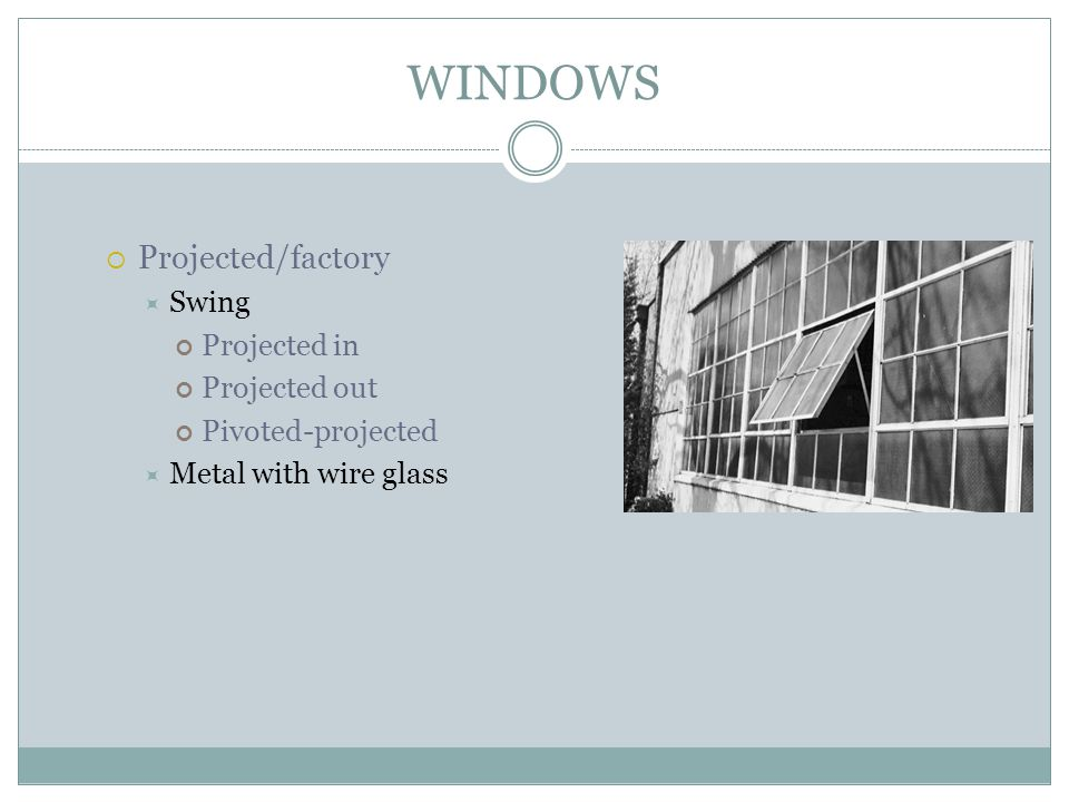 WINDOWS Projected/factory Swing Projected in Projected out Pivoted-projected Metal with wire glass