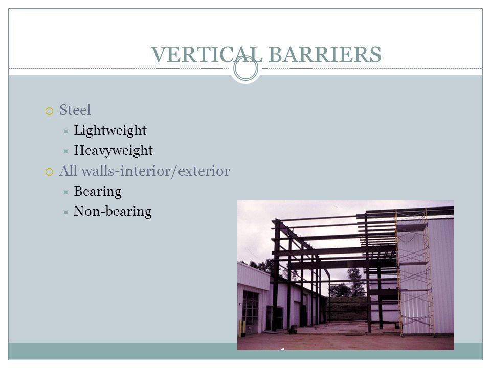 VERTICAL BARRIERS Steel Lightweight Heavyweight All walls-interior/exterior Bearing Non-bearing