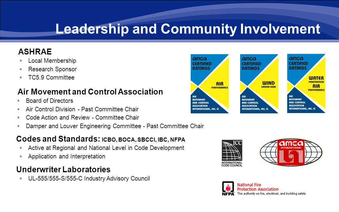Leadership and Community Involvement ASHRAE Local Membership Research Sponsor TC5.9 Committee Dynasonics Air Movement and Control Association Board of