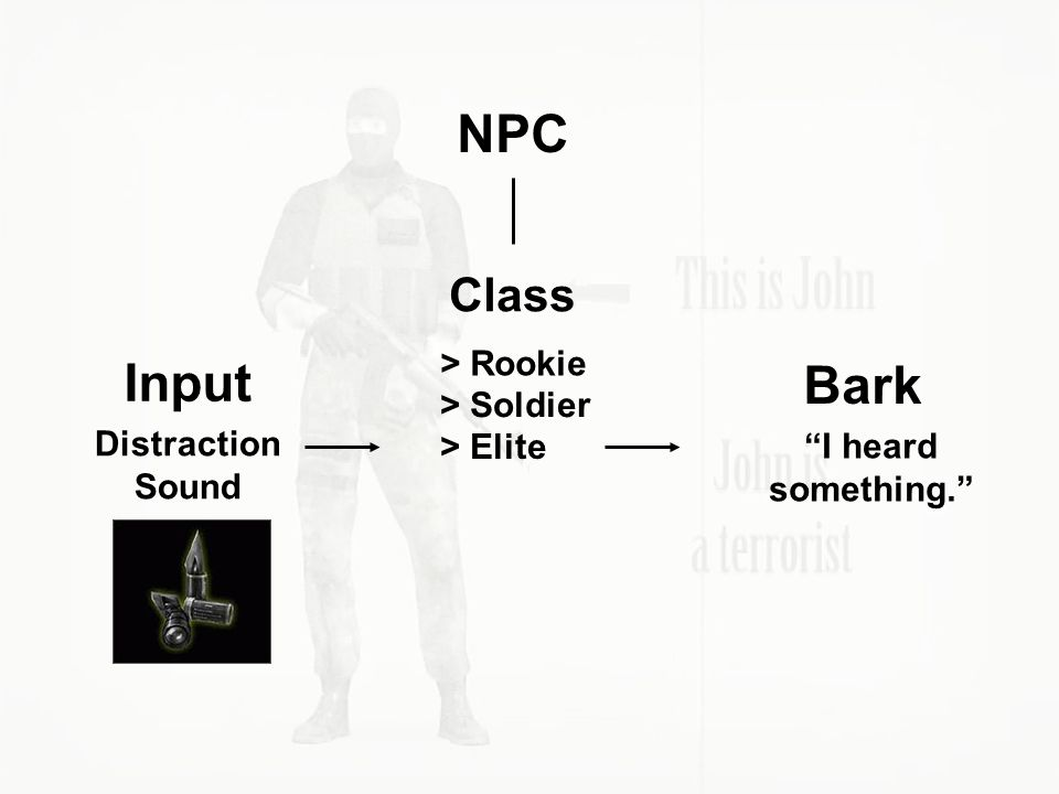 NPC Class > Rookie > Elite > Soldier Distraction Sound Input Bark I heard something.