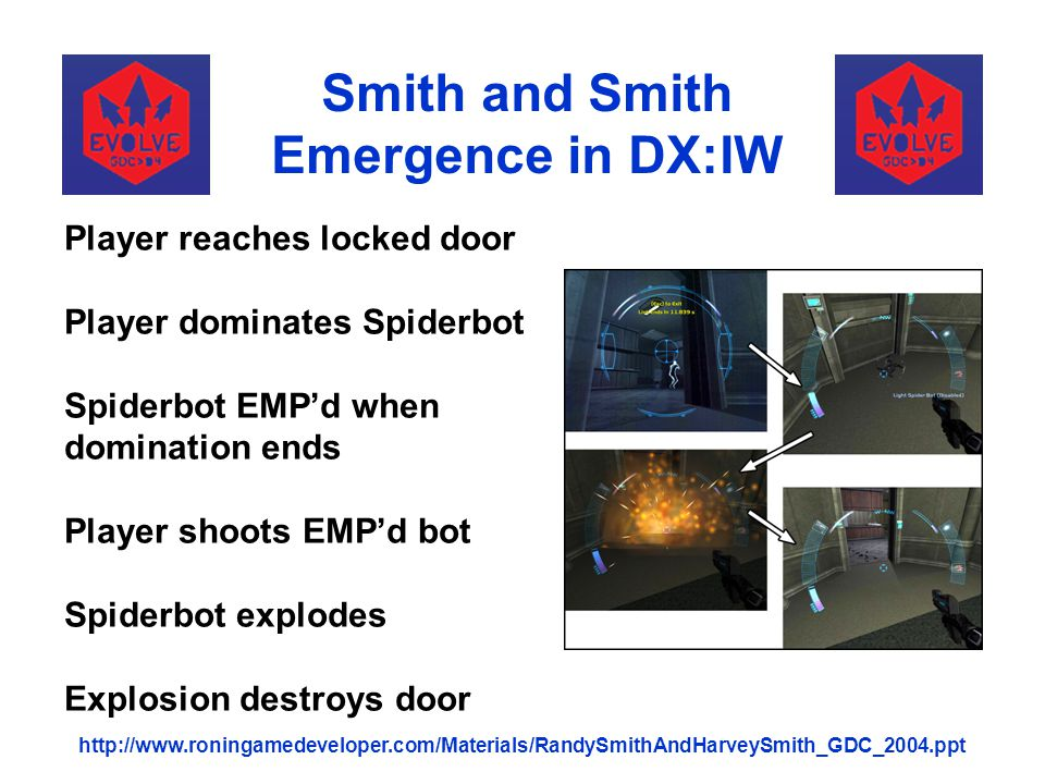 Smith and Smith Emergence in DX:IW http://www.roningamedeveloper.com/Materials/RandySmithAndHarveySmith_GDC_2004.ppt Player reaches locked door Player