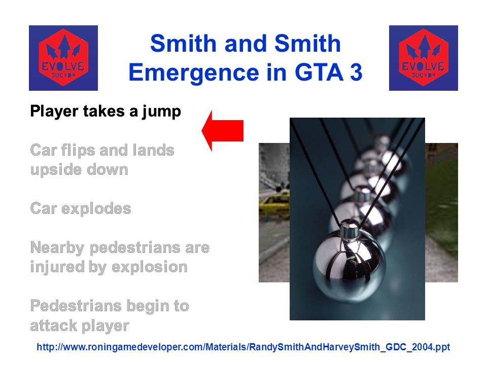 Player takes a jump Car flips and lands upside down Car explodes Nearby pedestrians are injured by explosion Pedestrians begin to attack player Smith
