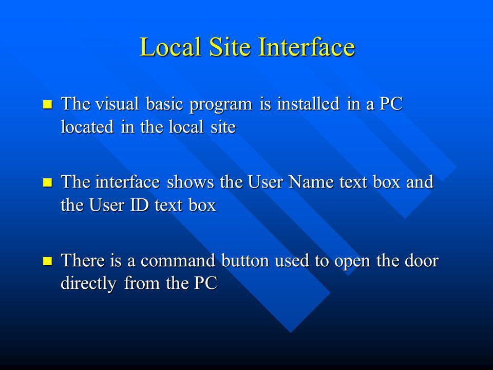 Local Site Interface The visual basic program is installed in a PC located in the local site The visual basic program is installed in a PC located in
