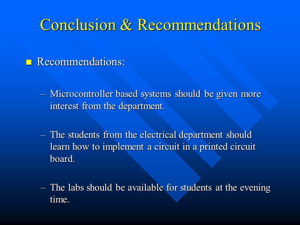 Conclusion & Recommendations Recommendations: Recommendations: –Microcontroller based systems should be given more interest from the department. –The
