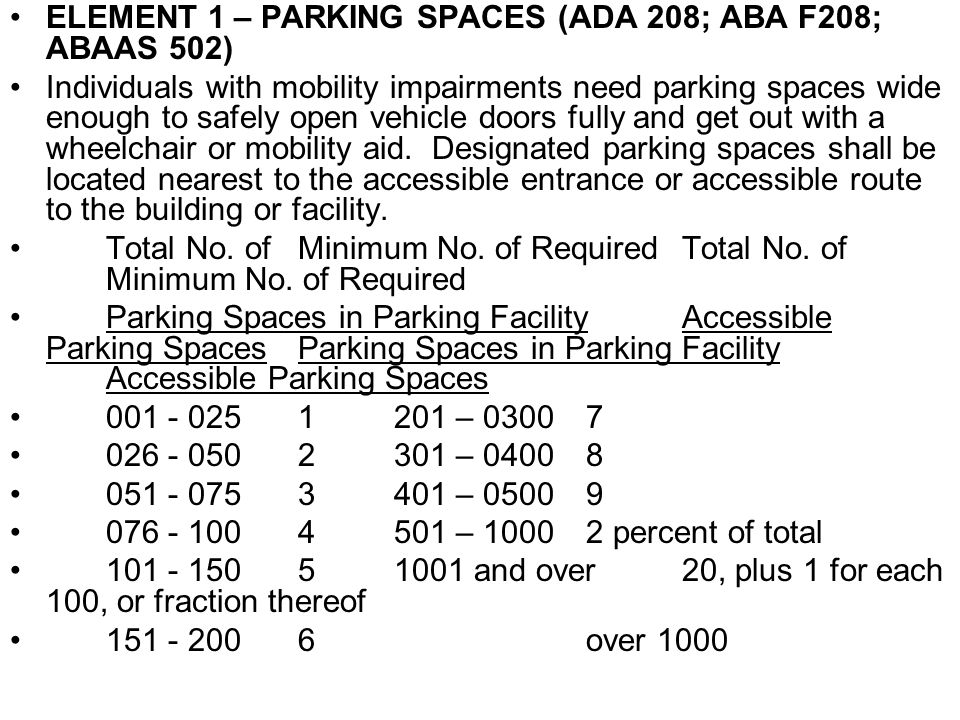 ELEMENT 1 – PARKING SPACES (ADA 208; ABA F208; ABAAS 502) Individuals with mobility impairments need parking spaces wide enough to safely open vehicle