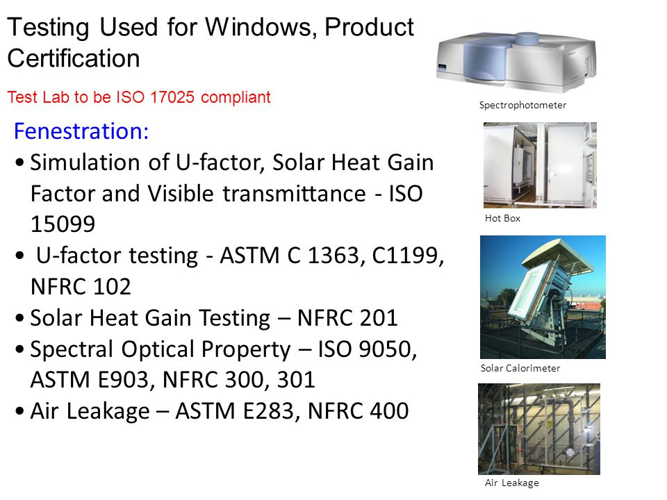 Testing Used for Windows, Product Certification Fenestration: Simulation of U-factor, Solar Heat Gain Factor and Visible transmittance - ISO 15099 U-f