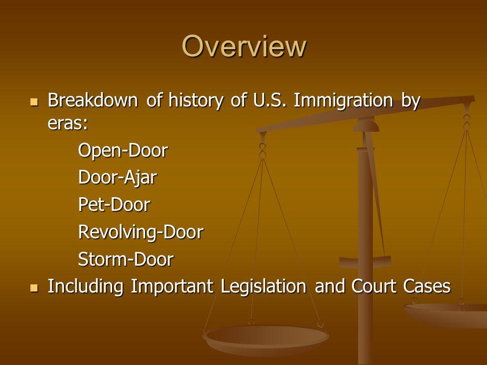 Overview Breakdown of history of U.S. Immigration by eras: Breakdown of history of U.S.